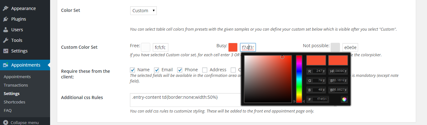 The display settings with custom colors selected and the color picker revealed.