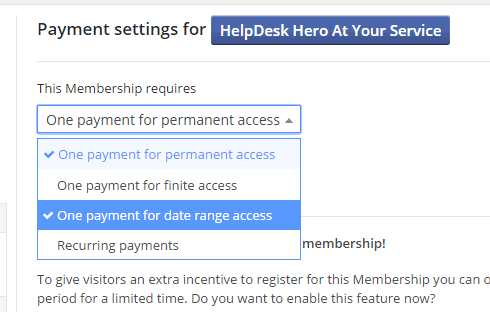 Payment settings for a new membership.
