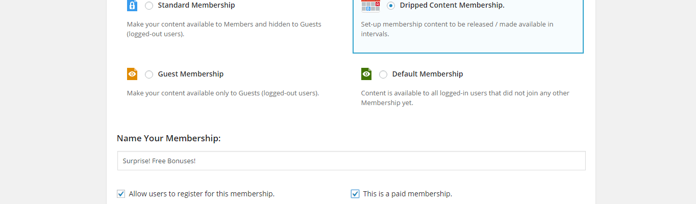 The membership settings page