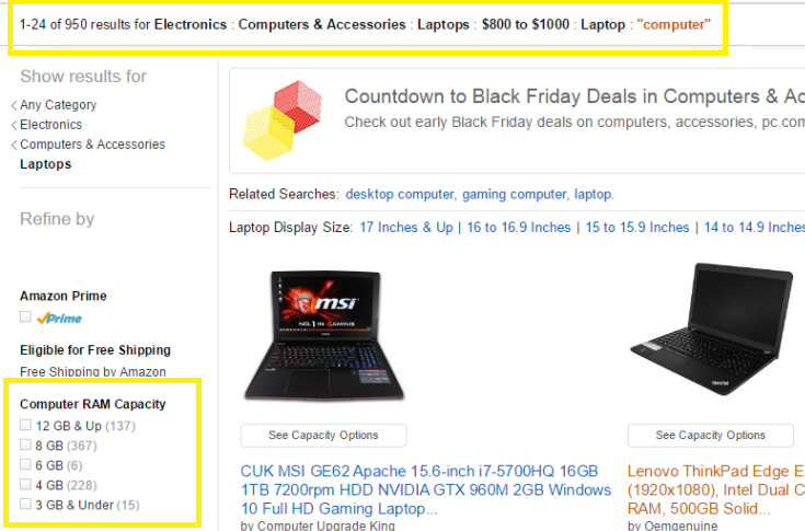 Amazon's faceted search.