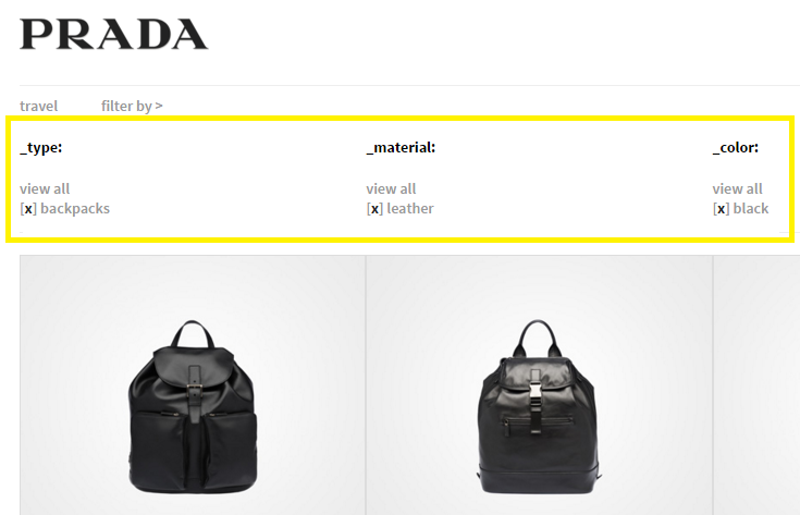 Prada's E-Store facets.