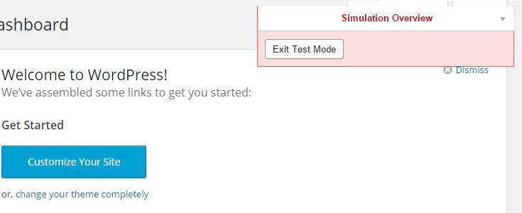 Exit test mode button