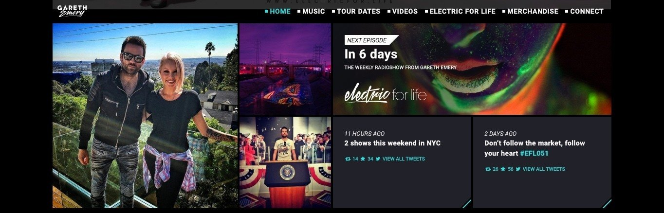 Sticky header in action on the Gareth emery site.