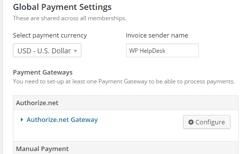 The global payment settings