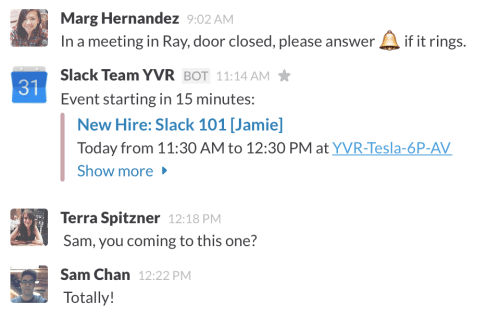 Slack calendar integration in action.