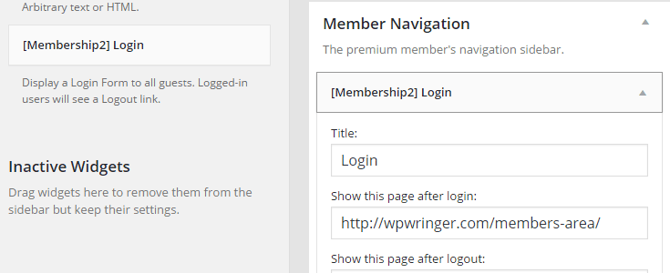 The Membership 2 Login widget has been added to the custom member's sidebar that was created and a custom URL for a member's area page has been entered for members to be directed to after logging in.