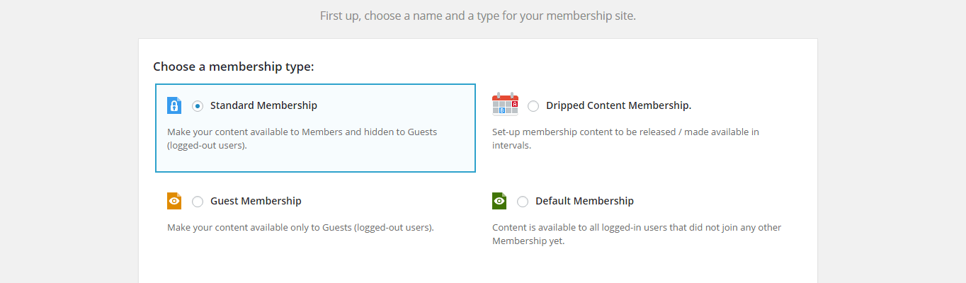 The setup page for Membership 2.