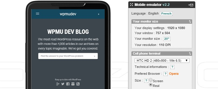 The Mobile Phone Emulator site with the WPMU DEV site loaded on the sample smaller HTC phone in the browser window.