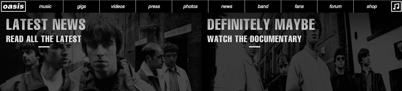 Sticky header in action on the full-width Oasis site.