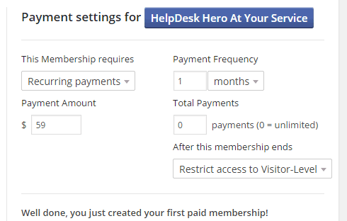 The recurring payment settings area