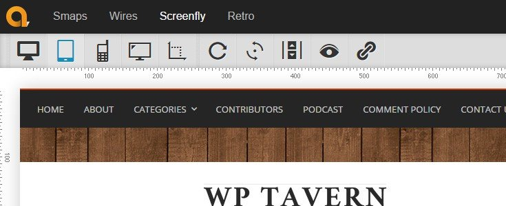 The WP Tavern site being displayed with the dimensions of a Kindle Fire tablet in the browser.