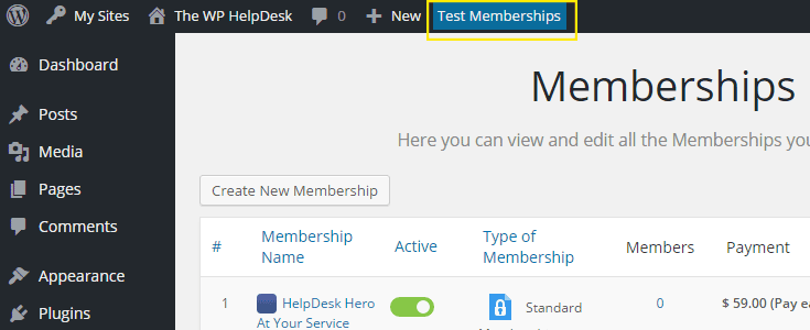 The Test MEmberships button in the admin bar.