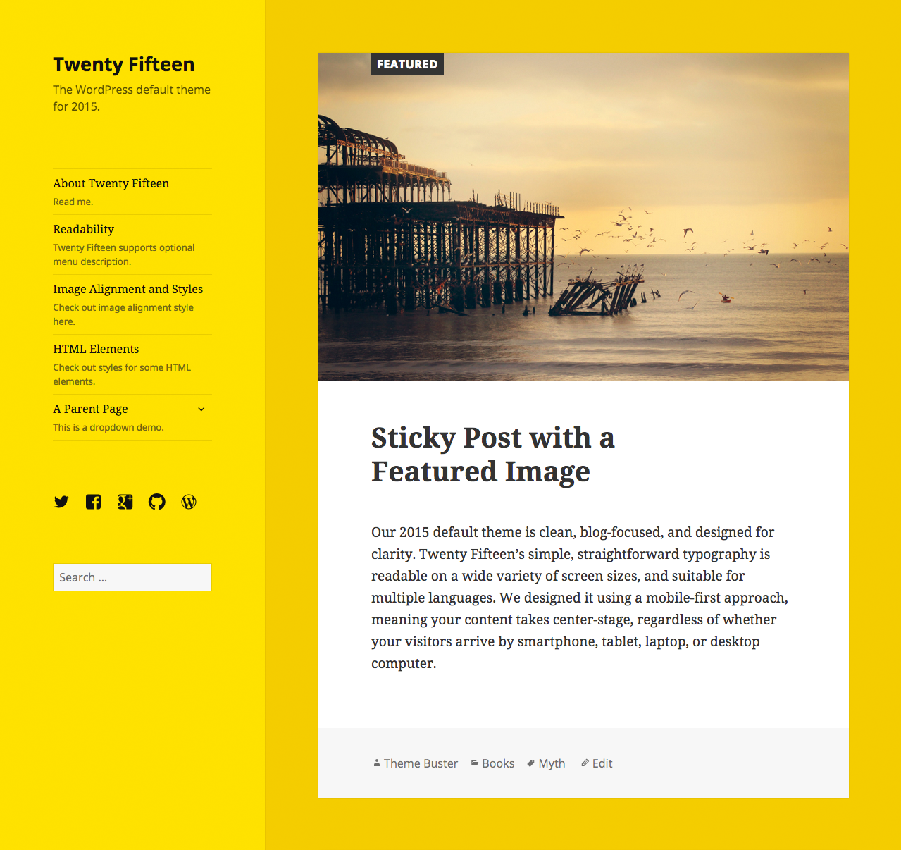 Clean, content-focused Twenty Fifteen WordPress theme in yellow.