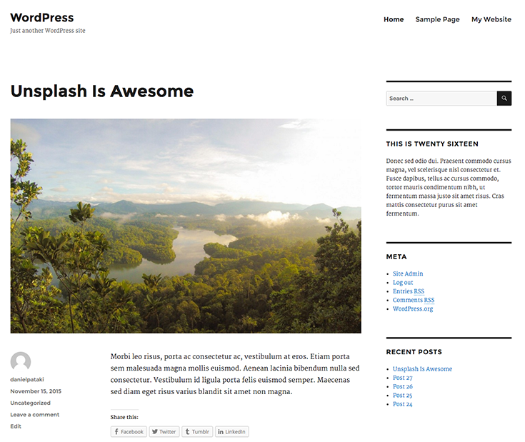 Twenty Sixteen - the new default WordPress theme