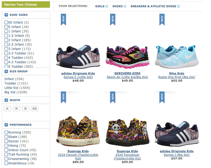 Faceted search options galore at Zappos.