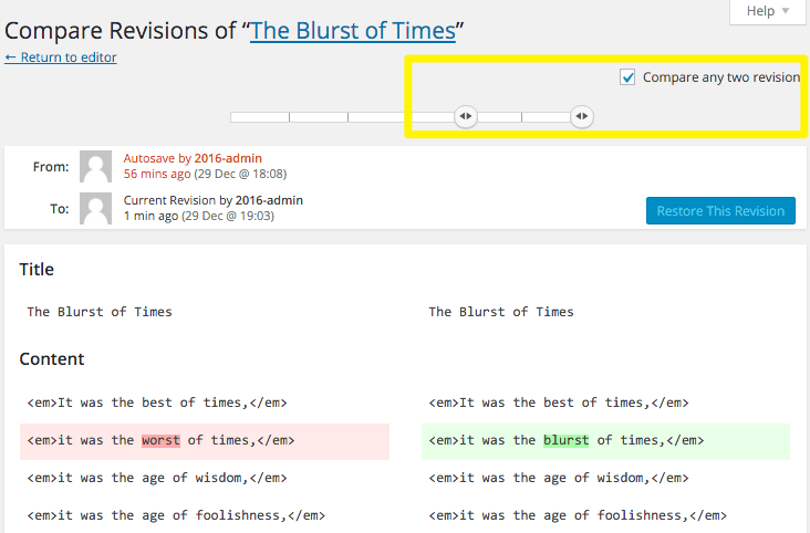 Comparing two revisions in WordPress.