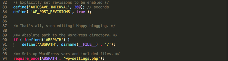 Setting revisions options via wp-config.php.