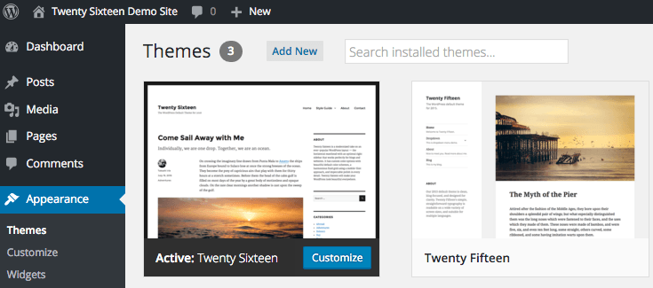 Twenty Sixteen default install in WordPress 4.4.