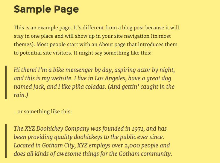 Twenty Sixteen yellow default color scheme.