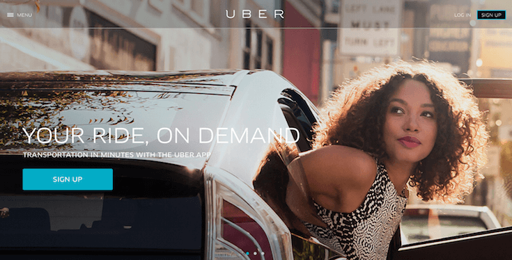 Uber uses an effective fullscreen call-to-action.