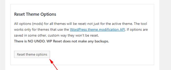 Reset your WordPress site's theme options