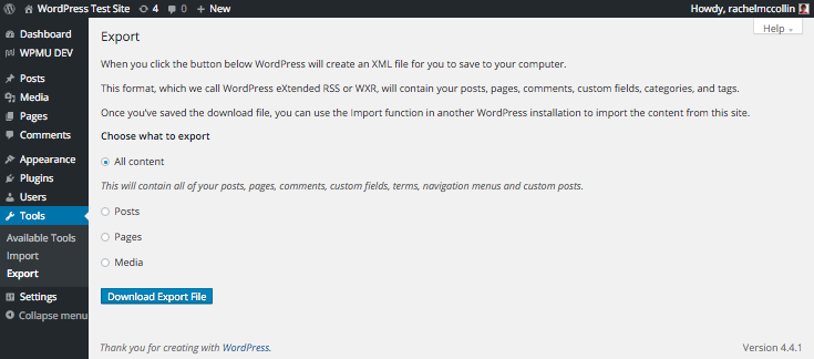 Exporting WordPress...