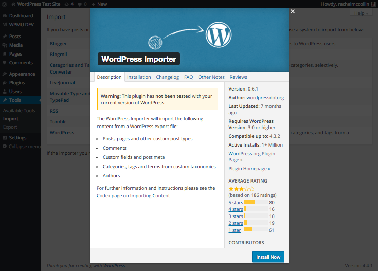 You'll need to install the WordPress importer.