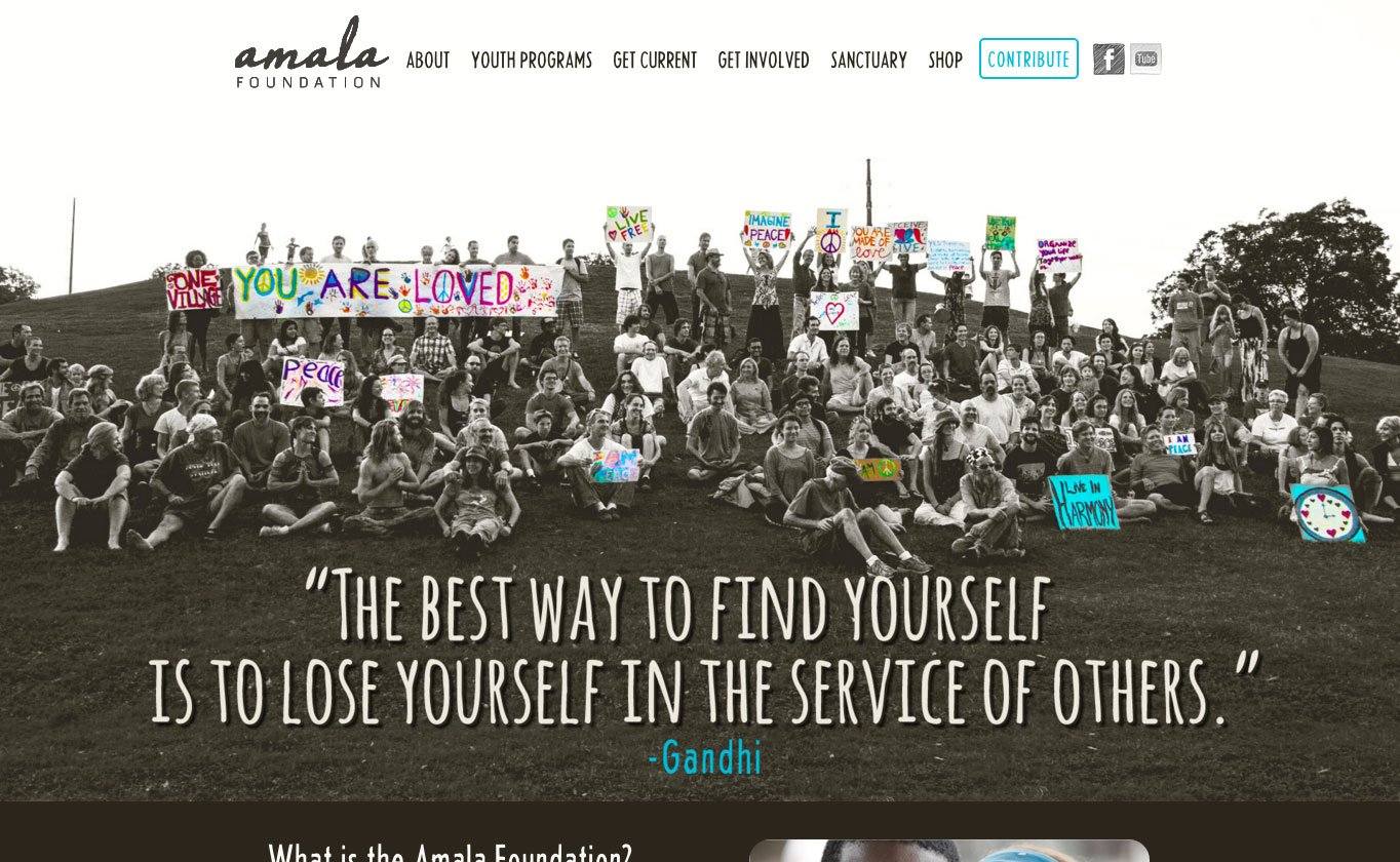 The Amala Foundation website uses several plugins to add functionality like lightboxes, shortcodes and calendars.
