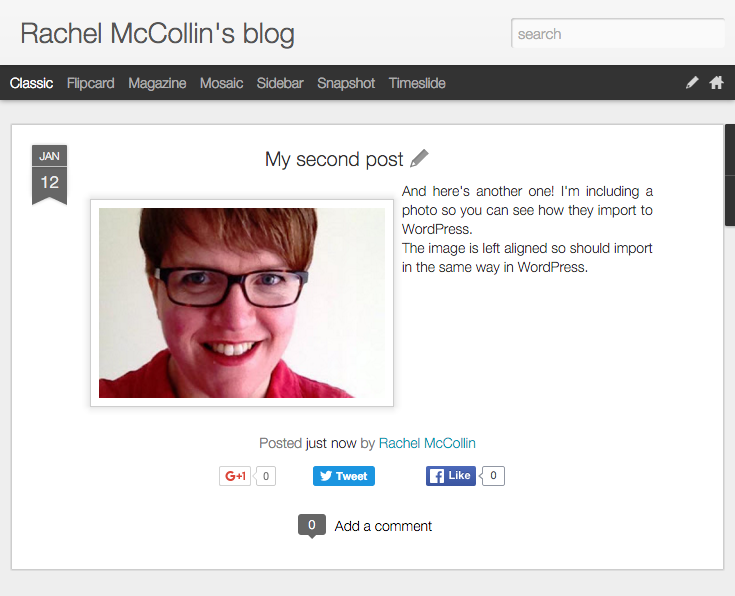 My dummy Blogger blog.