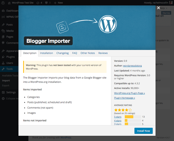 The Blogger important plugin.