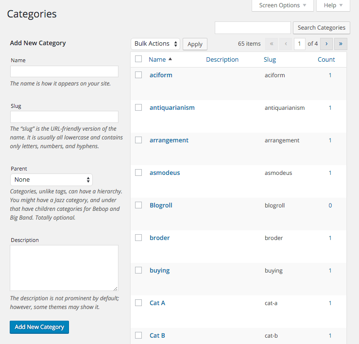The main WordPress category management page.