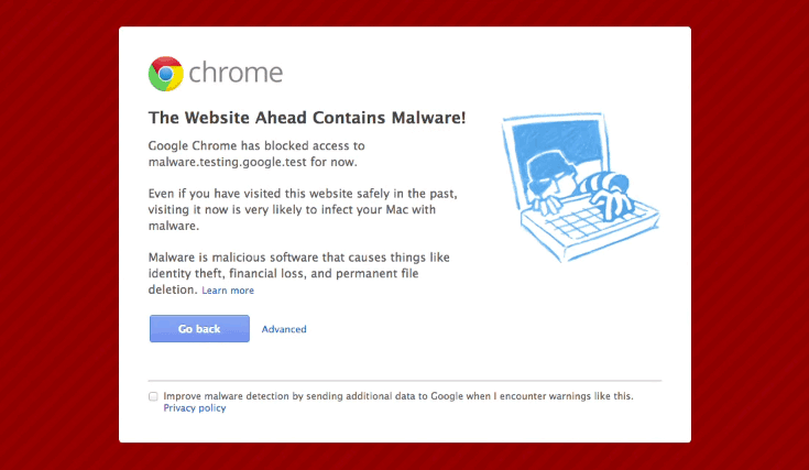 When your site has been compromised, Google will display a big, scary warning messages, turning away any visitors to your site.