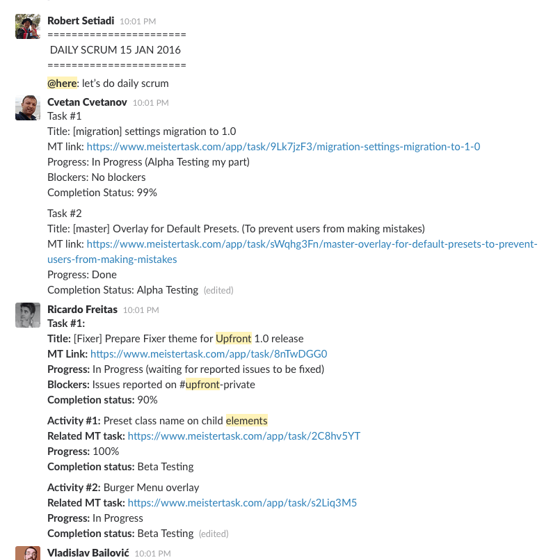 Our Upfront developer team's daily scrum.