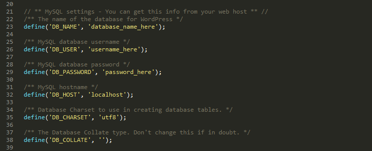 Update your wp-config.php file with your database details.