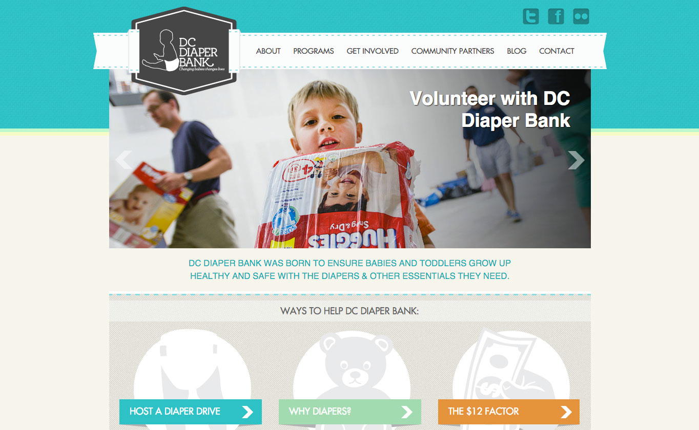 The DC Diaper Bank website features prominent CTAs encouraging visitors to donate.
