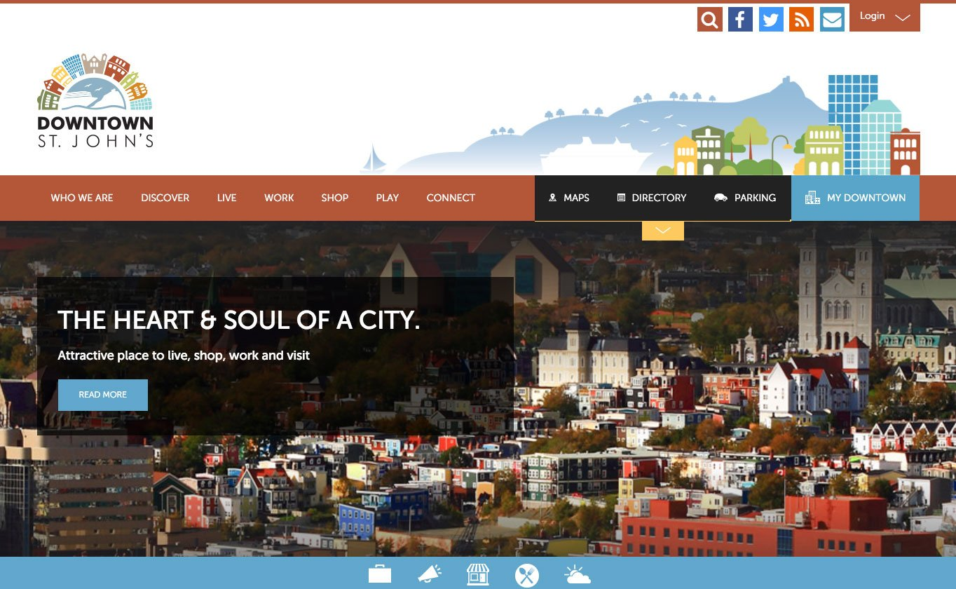 The Downtown St John's site uses a custom WordPress theme.