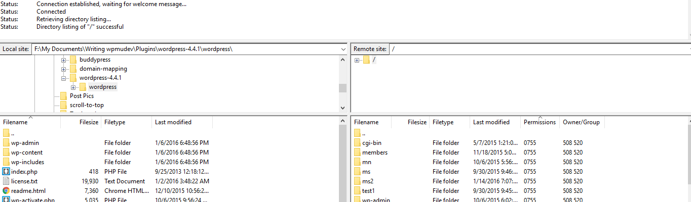 Sections in the FileZilla client.