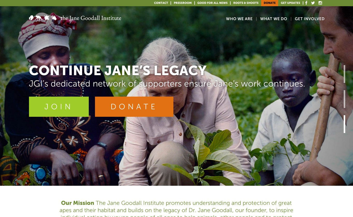 The Jane Goodall Institute website runs on the JOYN theme, which you can download from ThemeForest.