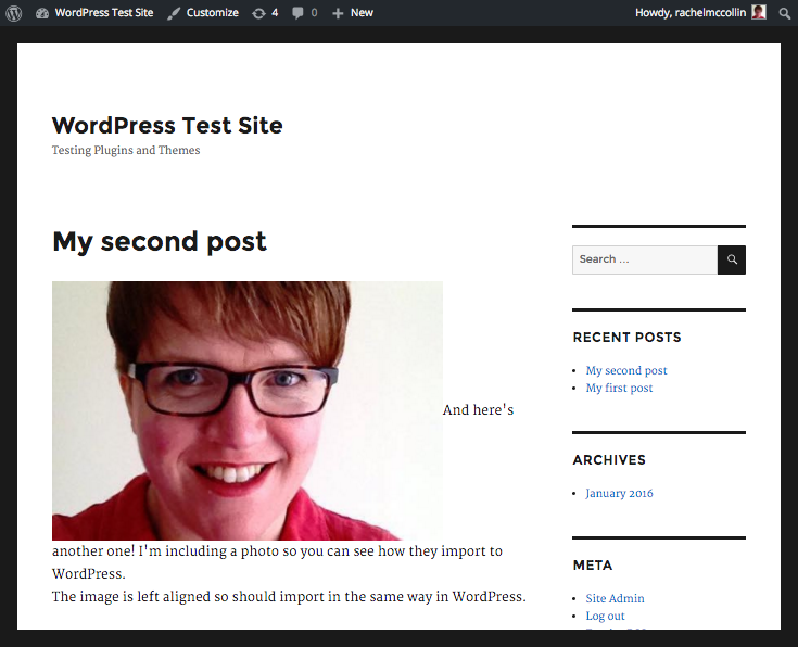My new WordPress site with my LiveJournal content.