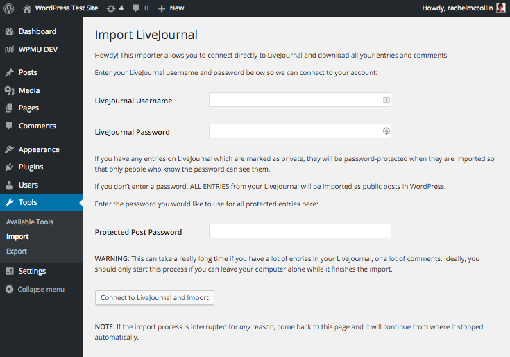 You'll need your LiveJournal credentials in order to copy over your content.