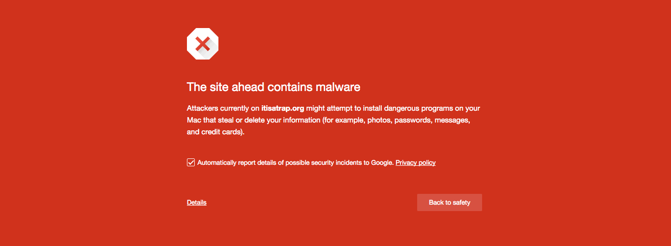 A malware notice shown to Firefox users.
