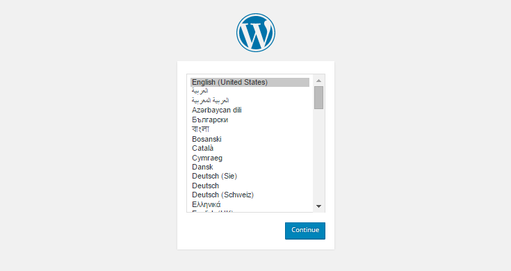 Choose the language you want to use WordPress in.