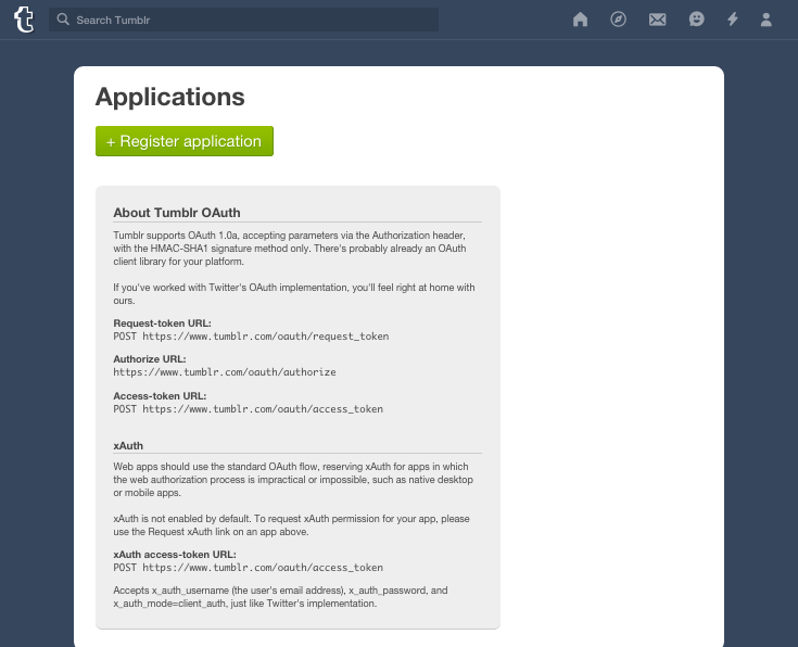 You'll need to register a new application in Tumblr before you can start exporting your content.