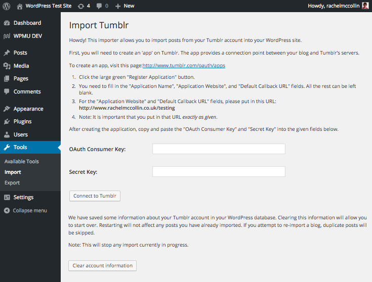 Entering keys to import a site from tumblr