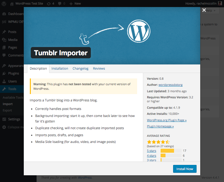 The Tumblr importer plugin.