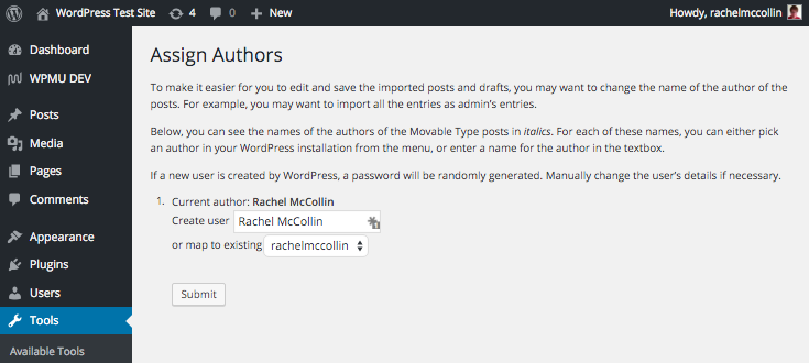 Time to import authors.