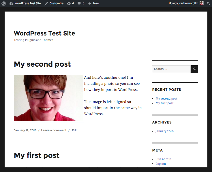 My successfully important TypePad site now in WordPress.