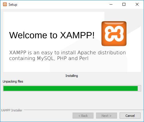 Installing XAMPP.