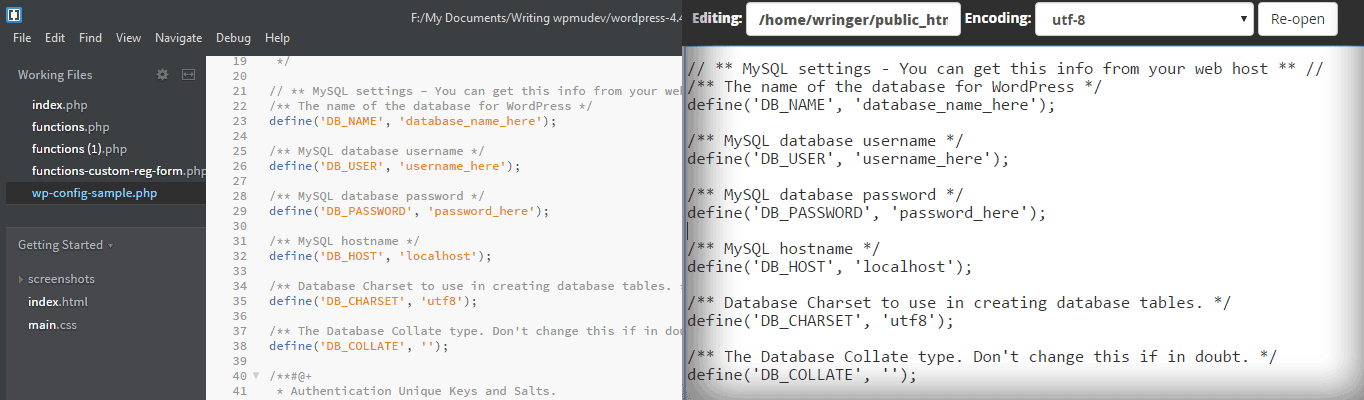 Brackets has actionable code color-coded and comments in light gray for easier editing.