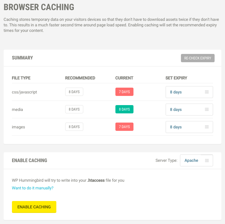 Your site will load more quickly with browser caching switched on.
